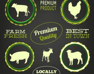 Farm animals, typo labels set Photoshop brush