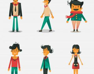 People vector set Photoshop brush