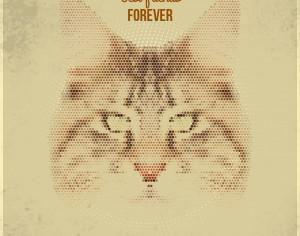 Vintage geometric cat with typography Photoshop brush