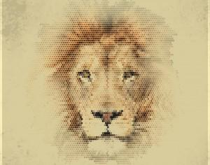 Vintage geometric lion Photoshop brush