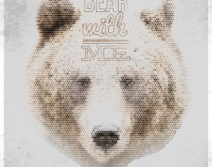 Vintage geometric bear with typography Photoshop brush