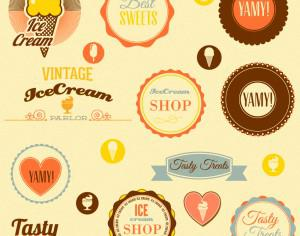 Retro badges and sweets Photoshop brush