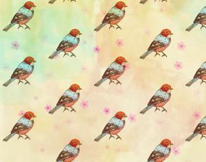 Pattern with retro bird Photoshop brush