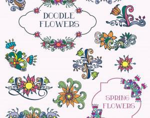 Doodle flower vector set Photoshop brush