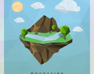 Isometric mountain Vector Floating Island Photoshop brush