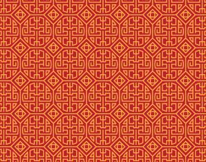 Asian Yellow and Red Pattern Photoshop brush
