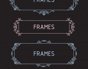 Vector outline frames. Elements design templates. Photoshop brush