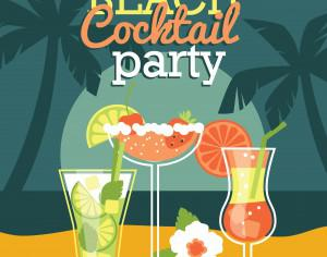 Beach cocktail party. Vector illustration Photoshop brush