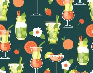 Summer Cocktails . Seamless pattern. Photoshop brush