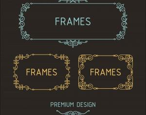 Vector outline frames. Elements design templates. Photoshop brush