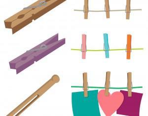 Clothespins Vector Set Photoshop brush