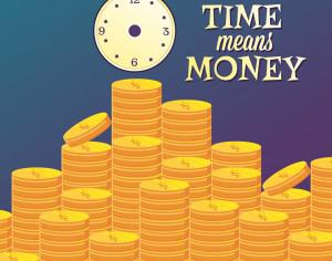 Money illustration with coins and clock Photoshop brush