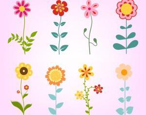Hand drawn doodle flowers set Photoshop brush