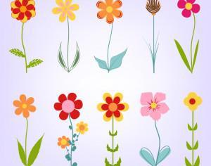 Hand drawn doodle flowers Photoshop brush
