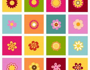 Set of flat icon flower icons Photoshop brush