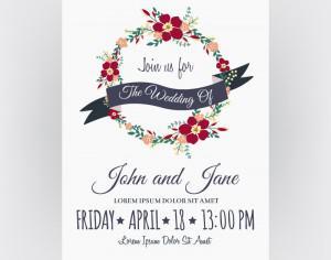 Wedding invitation card Photoshop brush
