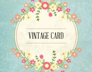 Floral frame, vintage card Photoshop brush