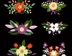 Cute floral bouquets, retro flowers Photoshop brush