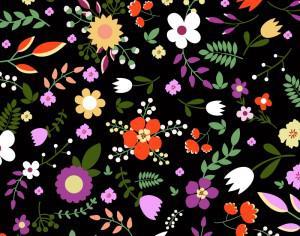 Hand draw seamless floral pattern on black bgackground Photoshop brush