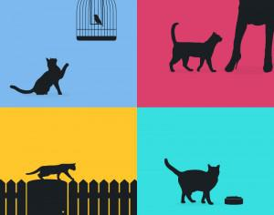 Cats silhouette retro posters Photoshop brush
