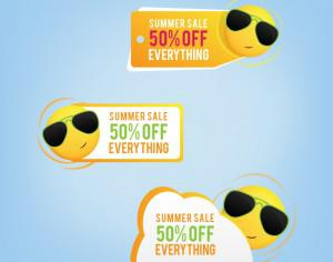 Summer price tags with a smiling sun Photoshop brush