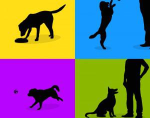 Dogs silhouette retro posters Photoshop brush