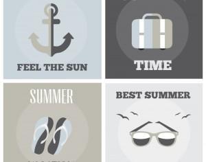 Summer posters set Photoshop brush