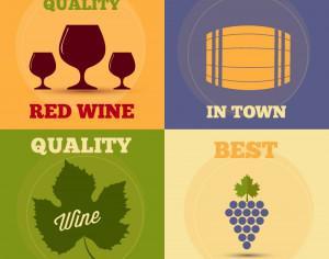 Retro wine posters set Photoshop brush