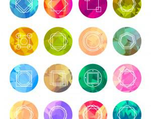 Abstract Geometric Labels Set With Logo Icons Photoshop brush