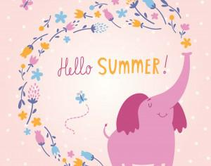 Hello Summer vector card with cute elephant Photoshop brush