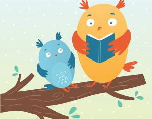 Vector illustration of cute owls reading a book Photoshop brush
