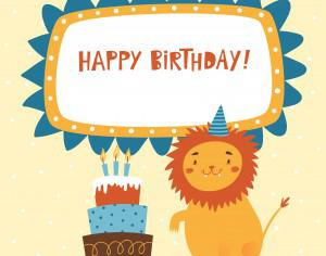Happy Birthday card with cute lion Photoshop brush