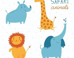 Safari animals vector set Photoshop brush