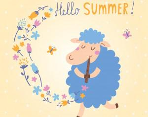 Vector illustration of cute sheep. Hello Summer! Photoshop brush