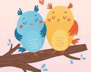 Vector illustration of owls in love Photoshop brush