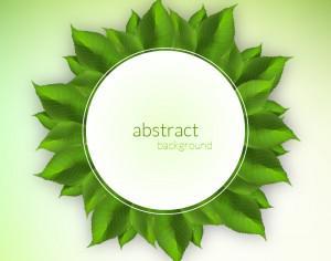 Fresh green leaves label Photoshop brush