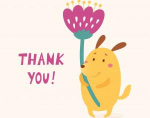 Thank you vector card with cute dog Photoshop brush