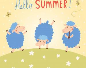 Hello Summer vector card with cute sheeps Photoshop brush