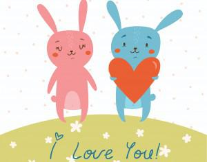 Vector card with cute bunnies in love Photoshop brush