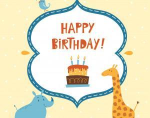 Happy Birthday card with cute animals Photoshop brush