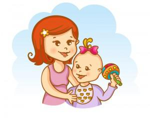 Mother and child vector illustration Photoshop brush