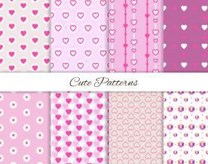 Set of seamless love patterns  Photoshop brush