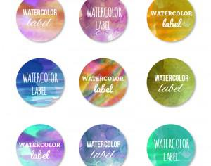Watercolor set of labels Photoshop brush