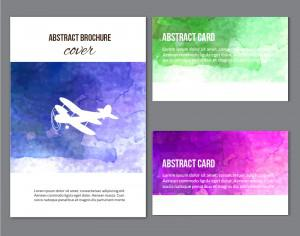 Watercolor  brochure and cards Photoshop brush