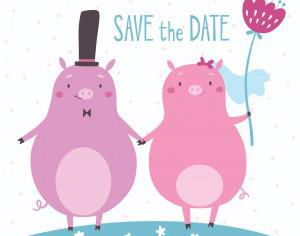 Save the date vector card with cute pigs Photoshop brush