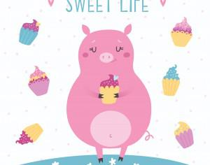 Vector illustration of cute pig with cupcakes. Sweet life Photoshop brush