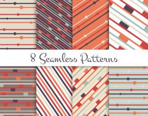 Retro lines seamless patterns set Photoshop brush