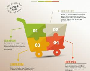 Business infographic, puzzle of shopping cart Photoshop brush