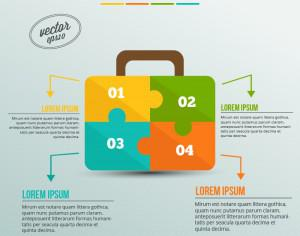 Business infographic, puzzle of a suitcase Photoshop brush