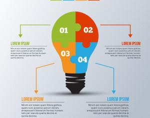 Infographic template with light bulb puzzle Photoshop brush